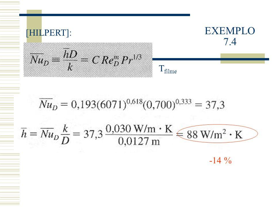 EXEMPLO 7.4 [HILPERT]: Tfilme -14 %